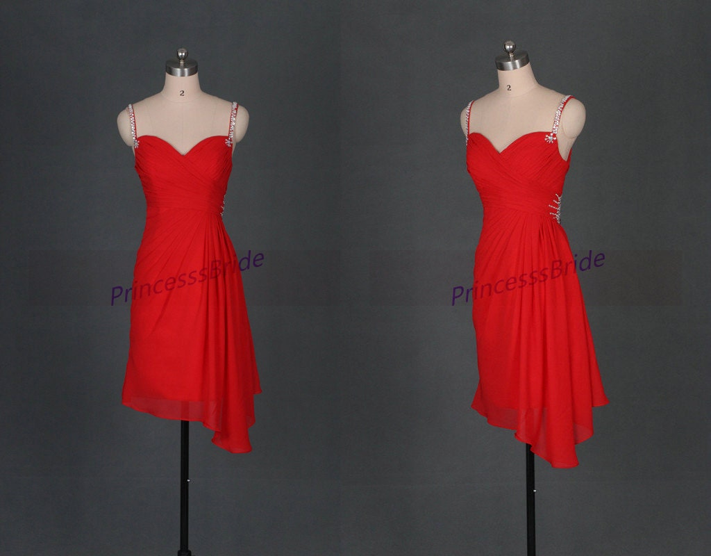 2016 red chiffon prom dresses with sequinsshort simple