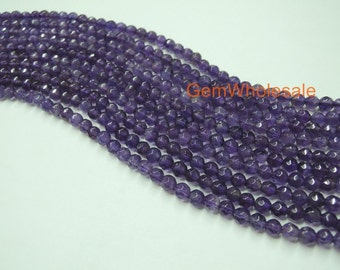 Amethyst 4mm round faceted beads, High quality Natural amethyst,faceted purple color DIY gemstone beads, natural crystal,purple quartz