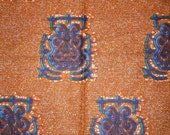 African Dutch Wax Hollandais Fabric Orange Multi Color/100% Cotton/Sold Per Yard/ Ankara Fabric/African Fashion/Head Wraps/Upholstery Fabric