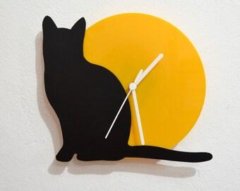 Cat - Black & Yellow Silhouette - Wall Clock