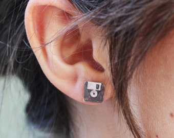 Oxidized Silver Floppy Disk Earrings