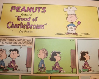 Chef Linus, Charlie Brown Peanuts Comic Strip, Retro, Lucy, Hot chocolate, BBQ,  Color Print, Charles Schulz, Frame as you like, Wall Decor