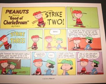 Charlie Brown comic, Three strikes you're out,  Comic Strip, Peanuts, Retro, Nostalgic Cartoon, Charles M Schulz, Frame, Wall Décor