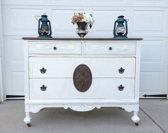 SOLD! SOLD! Beautiful Antique White Painted Dresser with Stained Top and Medallion