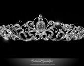 Bridal Tiara, Bridal Crystal Tiara, Crystal Tiara, Vintage Tiara,  Rhinestone Tiara, Floral Tiara, Victorian Tiara, Reign Tiara, Tiara
