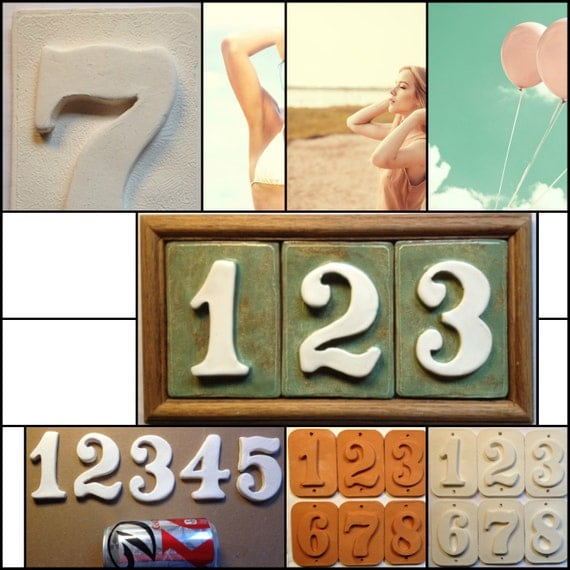 Ceramic numbers letters tiles and plaque by applewoodpottery for Ceramic tile numbers and letters
