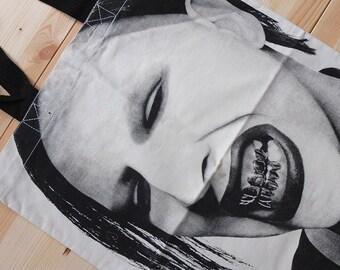 Marilyn Tough Cotton Canvas Punk Rock Tote Bag