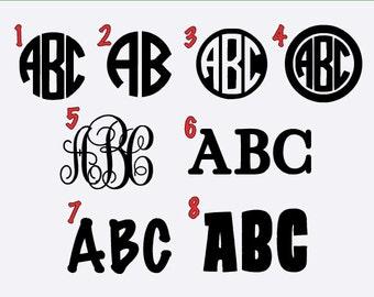 Vinyl Monogram Decal and Sticker