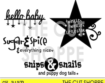The Oh Baby! cut file includes 4 baby/children themed icons, that can be used on your scrapbooking & papercrafting projects.