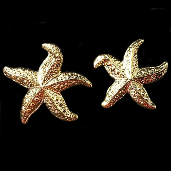 starfish earrings vintage avon polished gold tone by