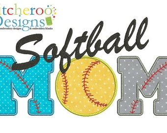 Softball MOM Applique Design -In Hoop sizes 5x7, 7x5, 9x9, 12x7- Instant Download - for Embroidery Machines