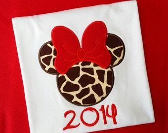 Disney Minnie Mouse 2014 Tshirt, giraffe Minnie with red bow, 2014