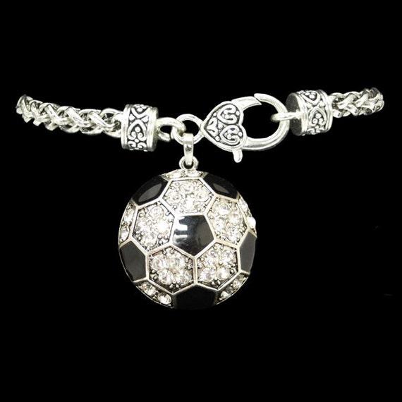 soccer rhinestone charm bracelet