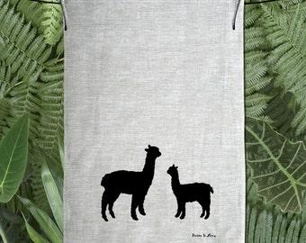 Alpaca & Baby Silhouette Hand Screen Printed Pure Linen Tea Towel Free Shipping Australia Wide