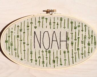 Embroidery Hoop Art / CUSTOM Name Arrows Hoop / Handmade / Embroidered Wall Art