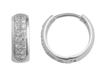 SH115 Sterling Silver Two row of CZ Prong Set Huggie Hoop Earrings