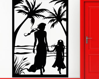 Wall Stickers Vinyl Decal Beach Palms Travel Mother And Daugter z1246