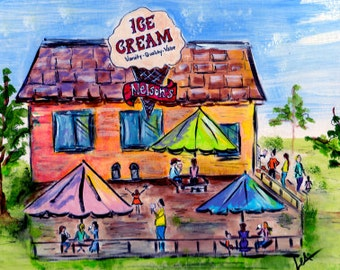 Hand Painted Canvas Art by Les ~ Nelson's Ice Cream Shop Stillwater, MN ~ Original