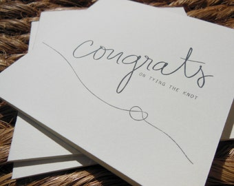 Handprinted TYING THE KNOT Single Card