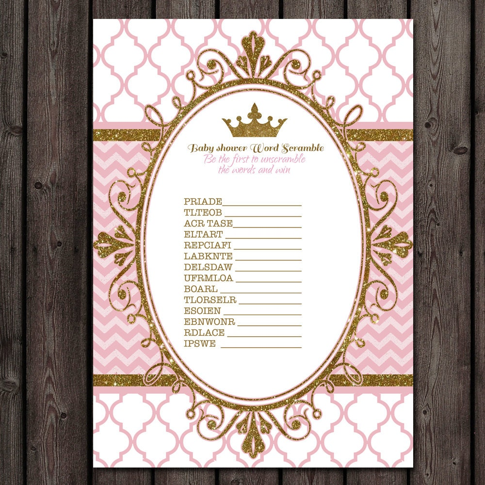 baby shower word scramble princess baby shower game instant