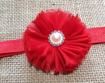 Newborn headband, Red flower headband, Girls headband, Chiffon flower headband, Headband for baby, Toddlers headband