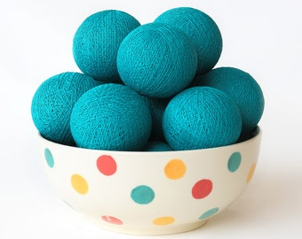 20 Loose Cotton Balls NOT INCLUDE String Lights, Fairy, Patio Party, Wedding Lights, Outdoor, Bedroom - Teal
