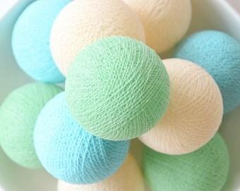 20 Loose Cotton Balls NOT INCLUDE Light String, Patio Party, Outdoor, Fairy, Wedding - Green, Cream, Light Blue