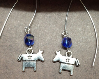 Handcrafted Blue Democratic Party Donkey With V Wire Earring.    FE-6