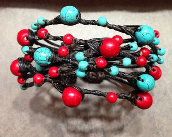 Macrame Reconstituted Turquoise And Coral Cuff Bracelet.    BB-17