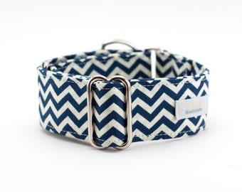 Navy White Chevron Martingale Dog Collar/Whippet Collar/Greyhound Collar