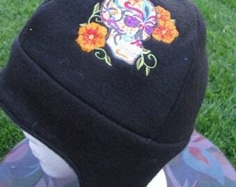 Dia de Los Muertos Calavera Skull with Flowers Fleece Ear Flap Hat