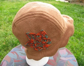 Scalloped Edge Fleece Bucket Hat with Beautiful Rust and Green Lace Fall Leaf