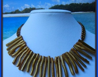 Handmade yellow branch coral necklace