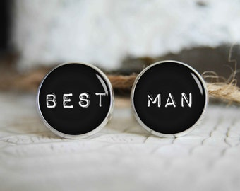 Best man personalized cufflinks, cool gifts for men, custom wedding silver plated or black cuff link