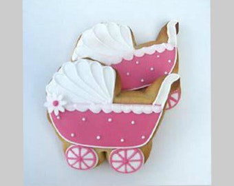 Dozen Baby Carriage Sugar Cookies, Baptism Cookies, Hand Decorated Sugar Cookies, Handmade Cookies, Baked Goods, Shower Gift, Baby Shower