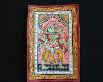 Handpainted Patta-chitra post-card with intricate colour designs of Varaha—the Indian mythical God (unframed).