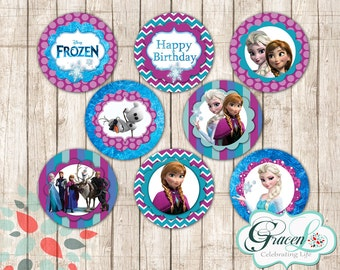 Frozen Cupcake Toppers, Frozen Movie Cupcake Toppers, Frozen Birthday Decorations, Frozen Party Supplies