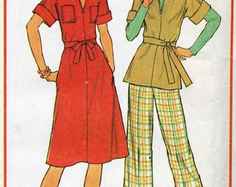 Half Size Pullover Dress or Top and Pants Sewing Pattern Simplicity 7583 Size 16 1/2 & 18 1/2 - Uncut