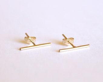 Long Thin Line Earrings -  14k Gold or Sterling Silver - Line Posts - Parallel Lines - Simple Gold Earrings - Staple Earrings - Minimalist