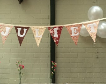 Personalised bunting, choice of colour schemes and fonts