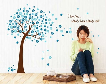 Blue tree wall decal - Cherry blossom tree wall sticker - Wall sticker quotes