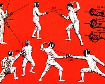 Vintage Fencing Poster, Salute, Foil Grip, Saber Grip, Epee Grip, Sword Fighting, Combat, Fencing