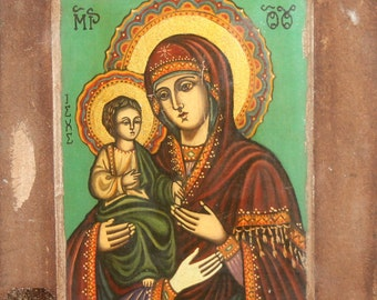 Orthodox Virgin Mary And Jesus Christ Child Hand Painted Icon