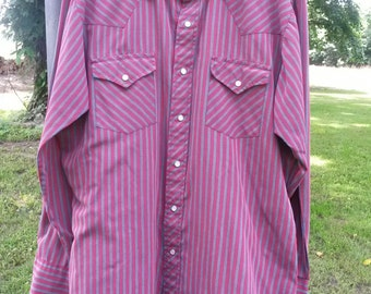 SALE 1980's Western Pearl Snap Running S brand striped Cowboy Vinyage Rodeo mens 16