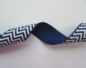 "Navy Blue and White Chevron Ribbon Wired 1 1/2"" inch  wide Grosgrain Ribbon Wrap Gift Basket Wreath Center Piece Home Decor Craft  LR010"