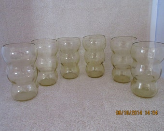 Amber Ribbed 6 inch Juice Glasses - Set of 6