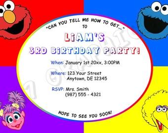 Sesame Street Birthday Invitation - Printable