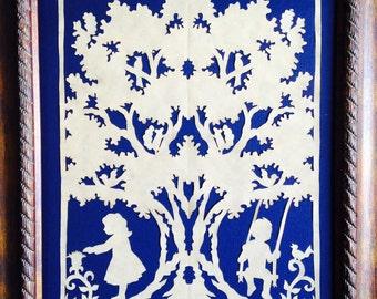 "Under the Oak, ORIGINAL Handmade Paper Cutting, Scherenschnitte, 8 x 10"""