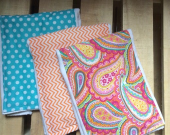 Paisley, polka dot and chevron burp cloth set **set of three**