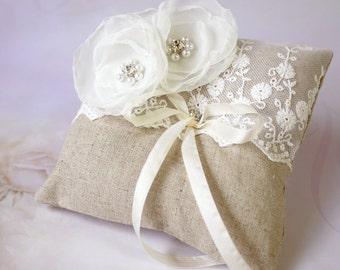 Linen Ring pillow with flower - wedding ring bearer pillow